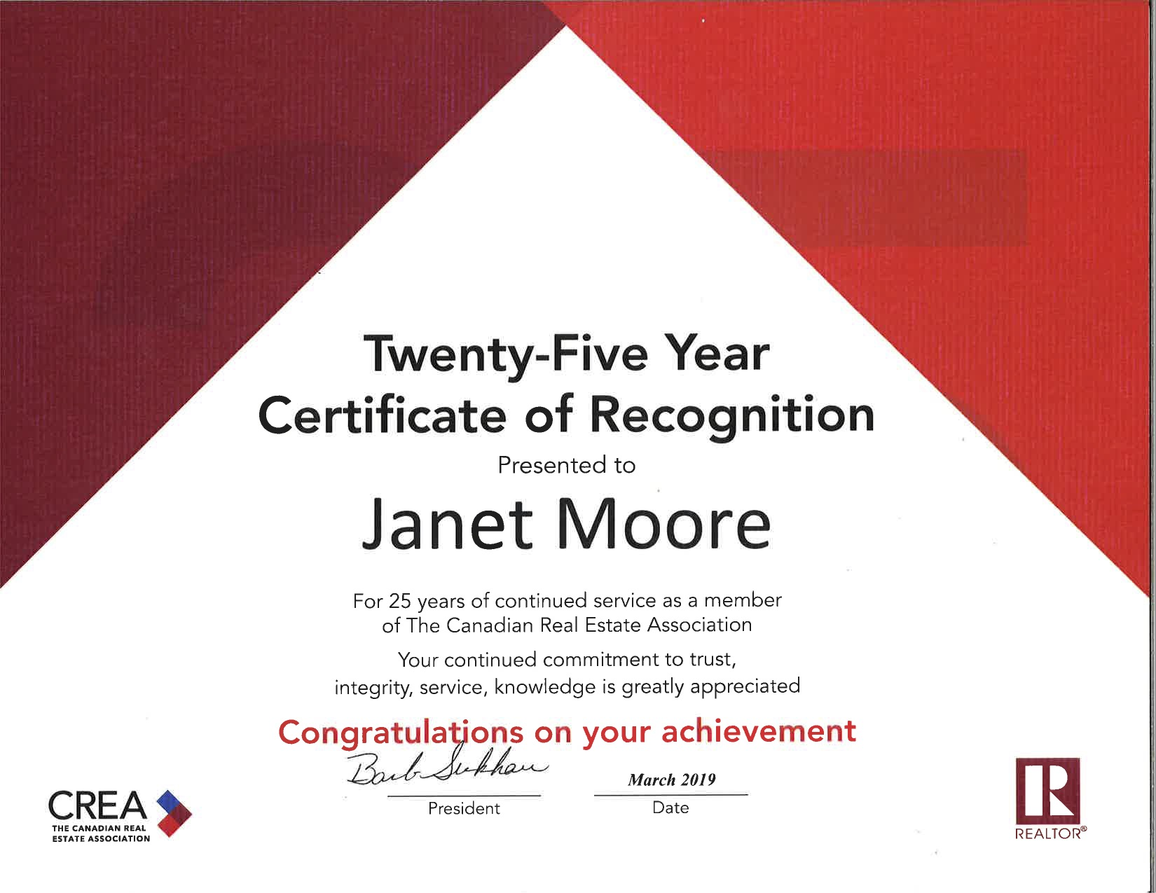 Janet Moore 25 year certificate of recognition from CREA